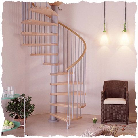Klan spiral staircase Grey and Natural