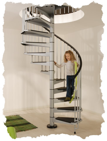 Civic spiral stair kit in grey