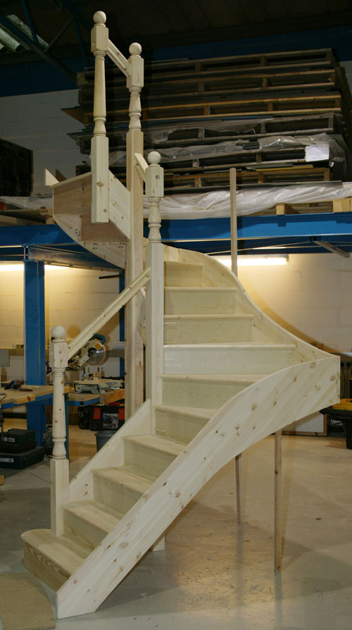 A double winder Staircase in engineered Pine